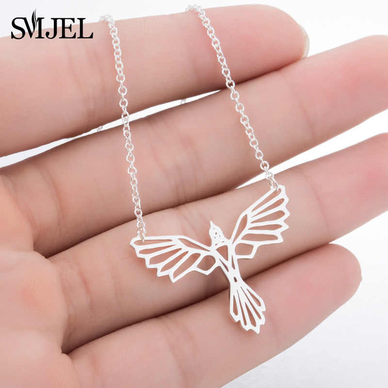 SMJEL Origami Phoenix Necklaces Women Men Bird Charm Necklace Power Fans Movie Jewelry Gifts Wholesale & Dropshipping