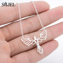 SMJEL Origami Phoenix Necklaces Women Men Bird Charm Necklace Power Fans Movie Jewelry Gifts Wholesale & Dropshipping(China)
