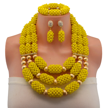 Yellow Crystall Nigerian Wedding African Chokers Beads Jewelry Set Dubai Crystal Beads Bridal Christmas Jewelry Set For Women