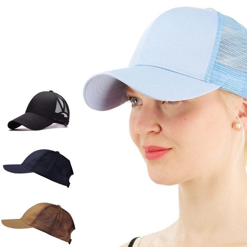 High Quality Women Ponytail Bun Distressed Caps Hat Messy Buns Trucker  Plain Baseball Cap Fashion ventilate Sports Hat f5f33e9b205