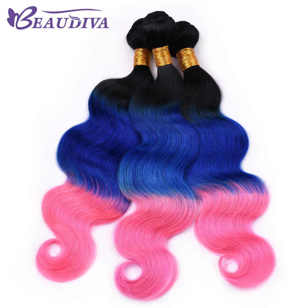 T1B/Blue/Pink Brazilian Body Wave Hair Bundles 100% Human Hair Weave BeauDiva Remy Hair 3 Piece 16-26 Inch Free Shipping ...
