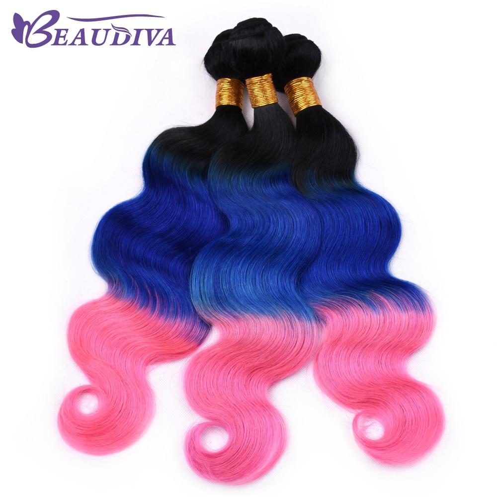 T1B/Blue/Pink Brazilian Body Wave Hair Bundles 100% Human Hair Weave BeauDiva Remy Hair 3 Piece 16-26 Inch Free Shipping