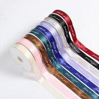 100Yards/Lot 6 75mm Decorative Slik Satin Ribbon For Wedding Party Decoration Bow Craft Gift Wrap DIY with logo customized