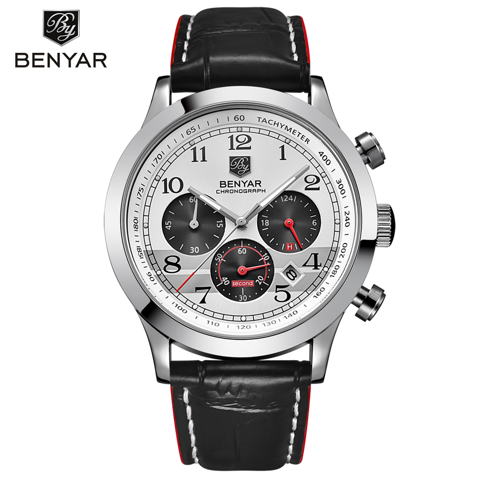Relogio Masculino BENYAR Fashion Chronograph Sport Mens Watches Top Brand Luxury Quartz Military Watch Male erkek kol saati 2017 mens business watches top brand luxury chronograph watch sport quartz wrist watch men clock male relogio erkek kol saati