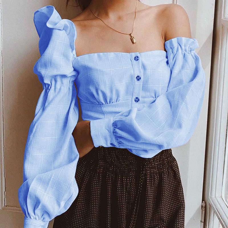 WannaThis/повседневные женские рубашки с одним плечом, нерегулярные с пышными рукавами, с открытой спиной, на пуговицах, осенняя модная уличная одежда, сексуальный женский топ