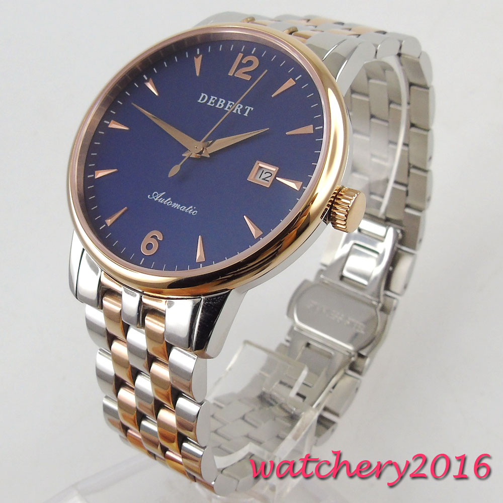 40mm Debert Blue Dial Date Deployment clasp 2017 Newest top brand Luxury Sapphire Crystal Miyota Automatic Mechanical Mens Watch коньки onlitop 223f 37 40 blue 806164