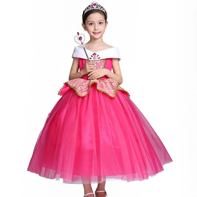 Little Girls Sleeping Beauty Deluxe Pink Princess Aurora Dress Up ...