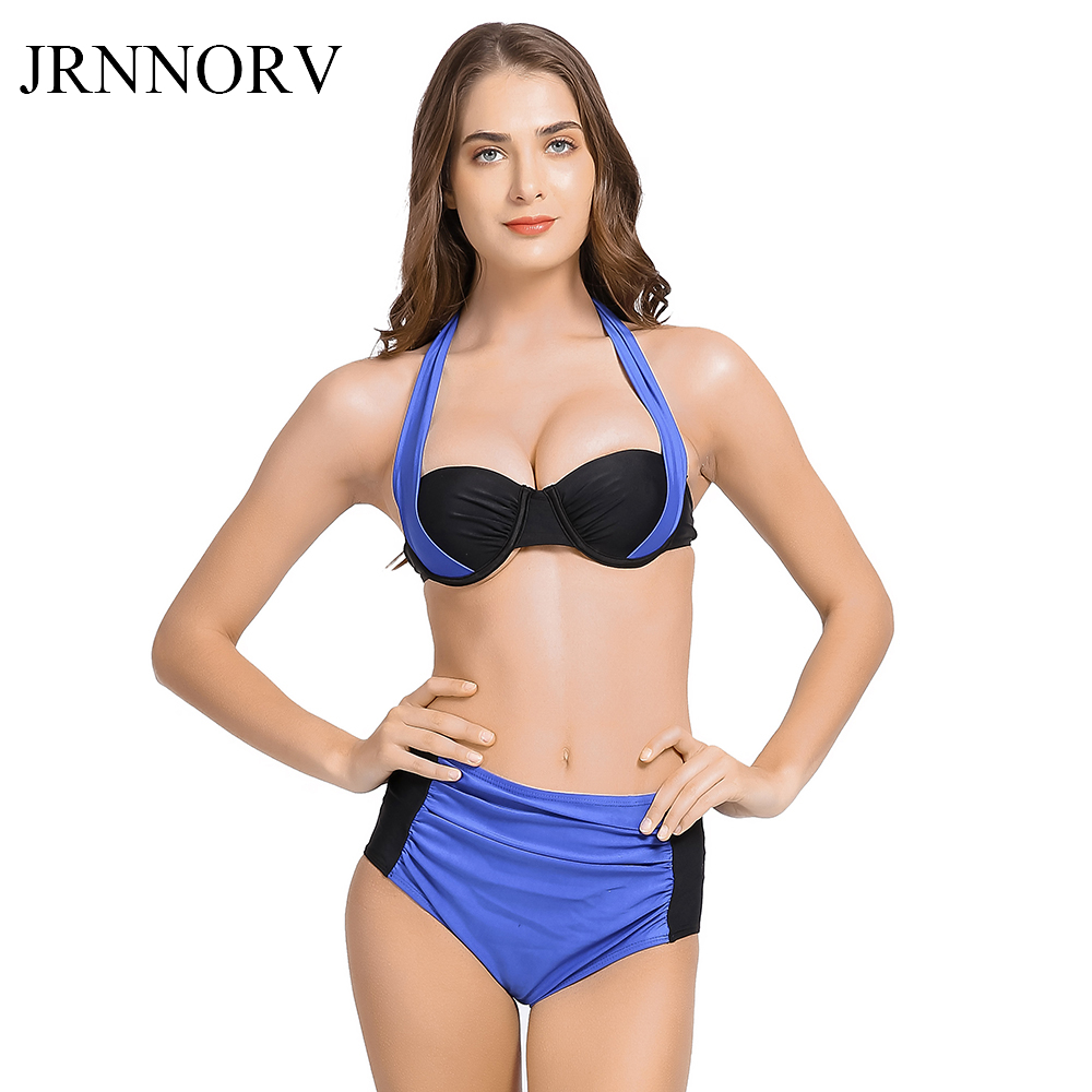 JRNNORV New Sexy Bikinis Women Swimsuit High Waisted Bathing Suits Swim Halter Push Up Bikini Set Plus Size Swimwear 2XL AA00057 women high neck halter bikini swimsuit girls sweet sexy crop top swimwear high waist bikinis set beach swimsuit bathing suits