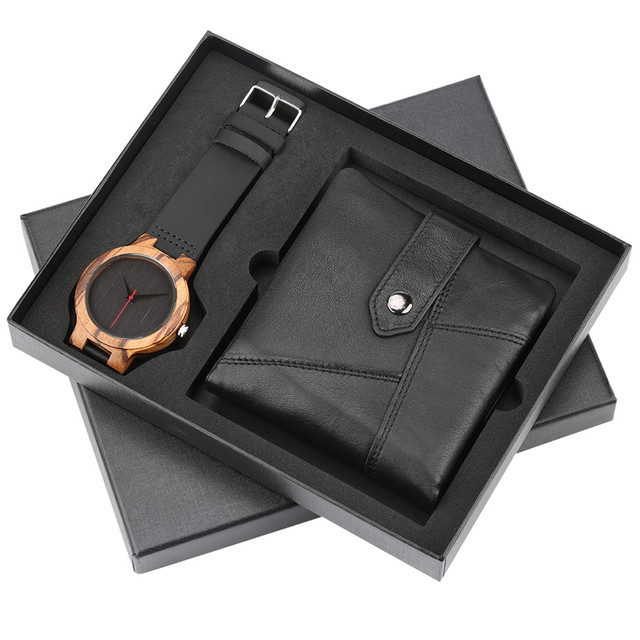 b2f99bad29d4 Nature Bamboo Wooden Watch + Black Leather Wallet Men Gift Set Box for Male  Quartz Men s Watches Luxury Fashion Man Money Bag