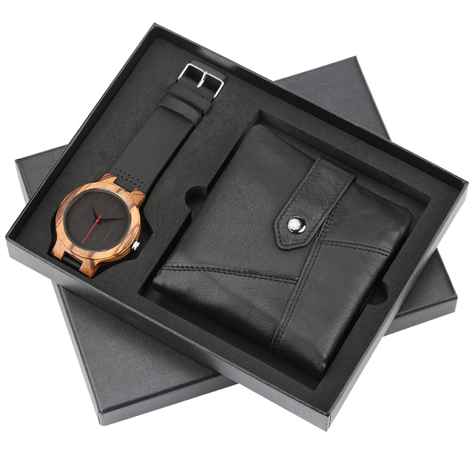 Nature Bamboo Wooden Watch + Black Leather Wallet Men Gift Set Box for Male Quartz Men's Watches Luxury Fashion Man Money Bag