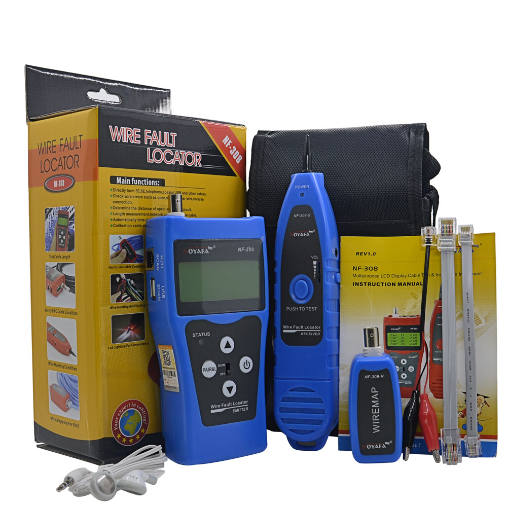 Free Shipping NF-308 Multipurpose Network Cable Test NF308 Hunting wire sorting cable length test 5E 6E cable coaxial RJ45  цены