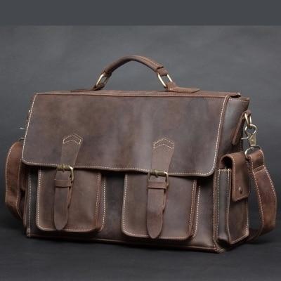 NEWEEKEND 6902 Vintage Genuine Leather Crazy Horse Large 4 Pockets Camera Crossbody Briefcase Handbag laptop iPad Bag for Man