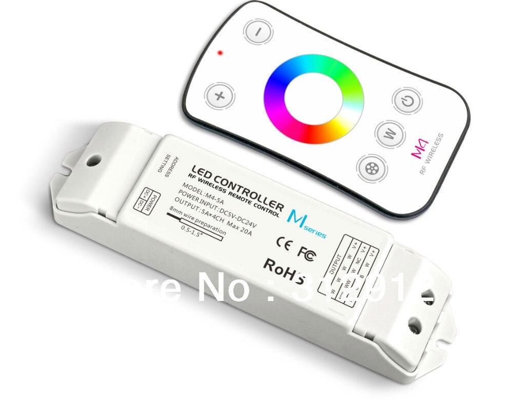 M4 remote+receiver;RGBW led controller;DC5-24V input;5A*4CH output m3 m4 5a m3 touch rf remote with m4 5a cv receiver led dimmer controller dc5v dc24v input 5a 4ch max 20a output