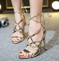 Women's High-Heeled Sandals Summer Cut-Outs Lace-Up Black gold silver shoes 2017 New Arrival Fashion Casual Shoes Woman