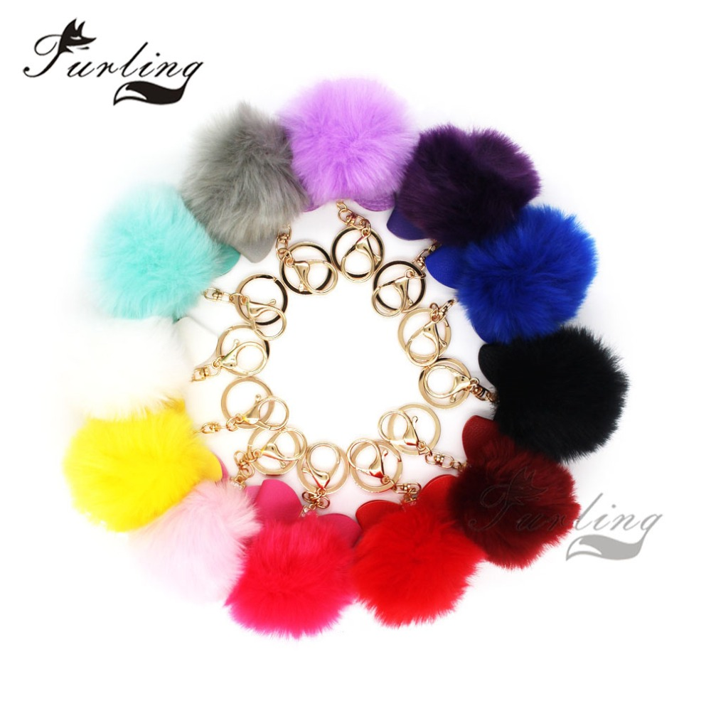 Furling 12pcs Fashion 8cm Faux Fur Pom pom Ball Key Ring Soft Gold Metal Pendant Keychain Hand Bag Charm Accessory Gift