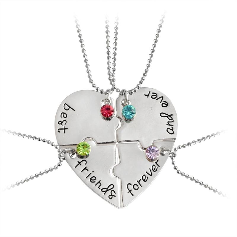 Ensemble Elegant Rose de 4 colliers damiti/é en alliage /« Meilleures amies pour toujours /» avec motif en c/œur cadeau cr/éatif pour des filles amies