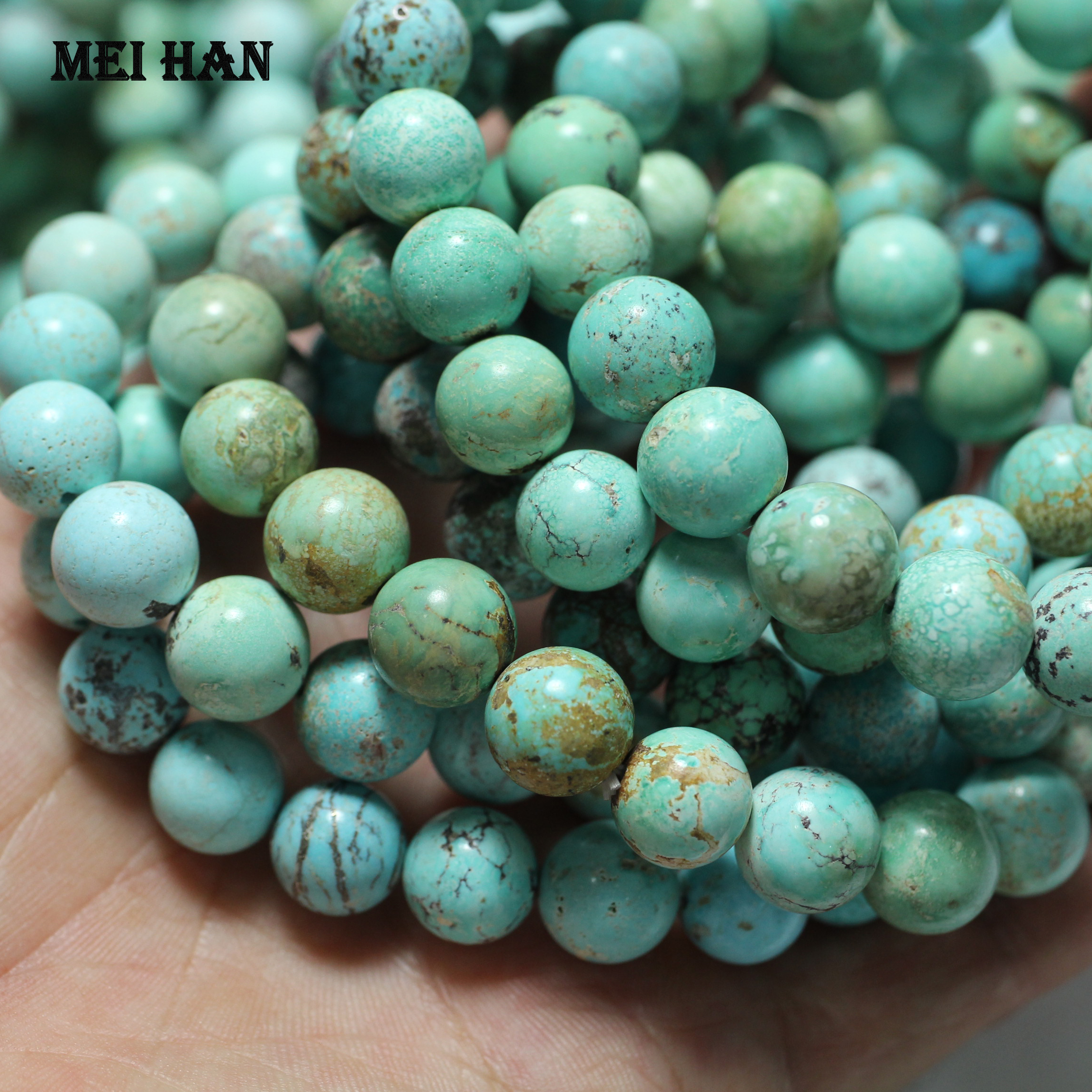 Meihan Free shipping 18beads 24g set rare amazing 10 10 5mm Natural Hubei Turquoise untreated ore