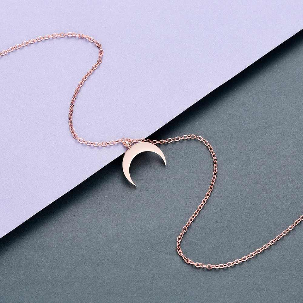 チャンドラー夏ステンレス鋼三日月ネックレスファッションゴールデンローズゴールドムーンペンダント鎖骨チェーンネックレス女性のための