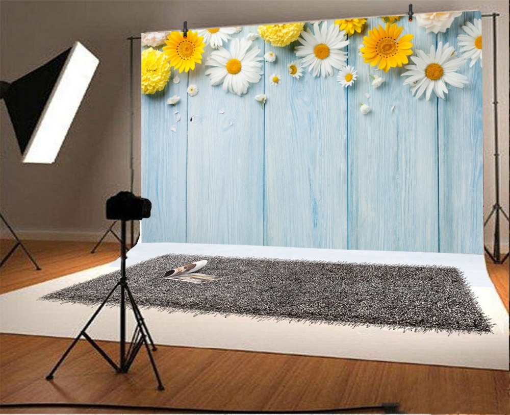 Laeacco Wooden Board Flowers Baby Birthday Party Photography Backgrounds Customized Photographic Backdrops For Photo Studio in Background from Consumer Electronics