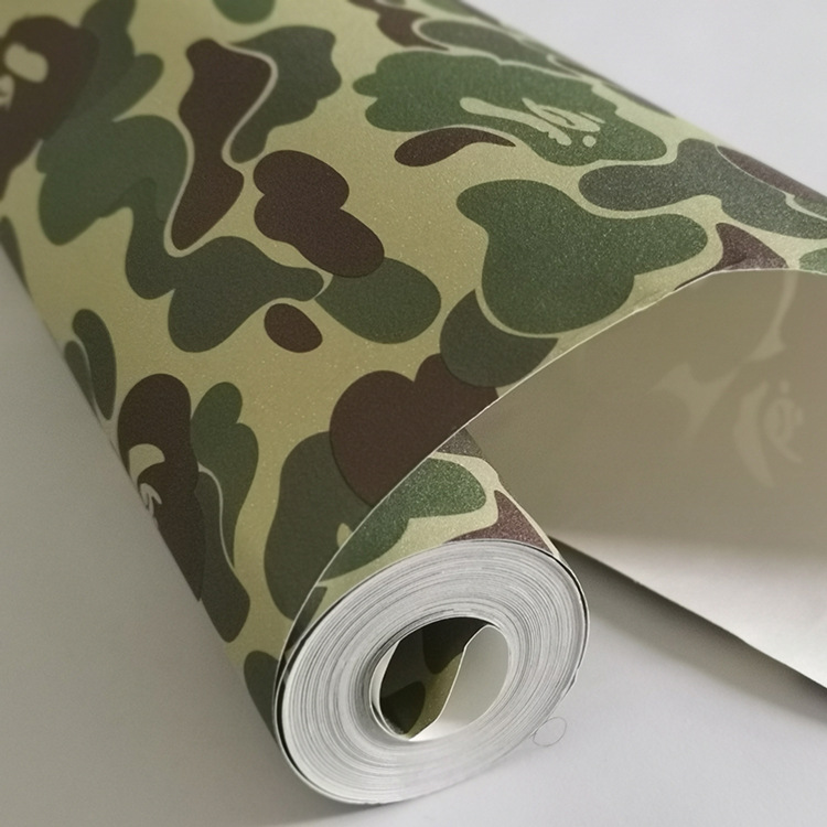 Have Glue Tide Brand Matte Japan Ape Pattern Camouflage College Dormitory Clothing Store Decor Wallpaper Bedroom Hip Hop Europe