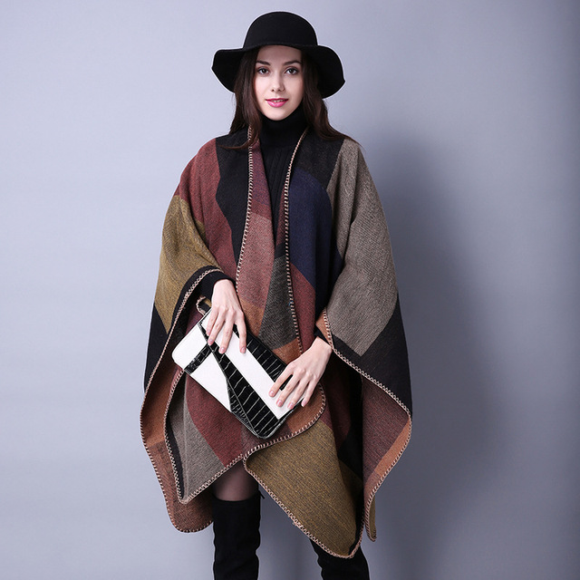 New Women Brand Scarf Poncho Cashmere like Wool Scarf Embroidery personalized Poncho Cape Block Check Blanket Poncho