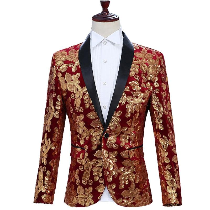 Купить мужской блестящий пиджак синий красный черный на одной пуговице