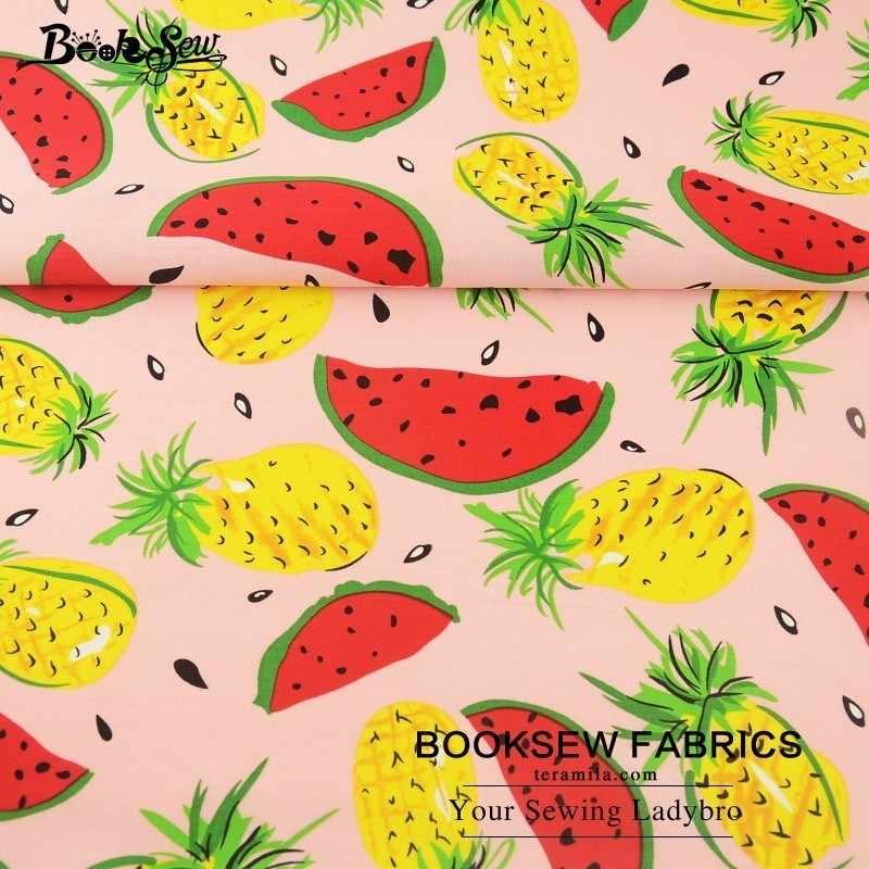 Booksew 100% хлопок Поплин Ткань Лето фруктовый узор мягкая стеганая розовая ткань для вышивания кукол метр для рубашки изготовление одежды платье см