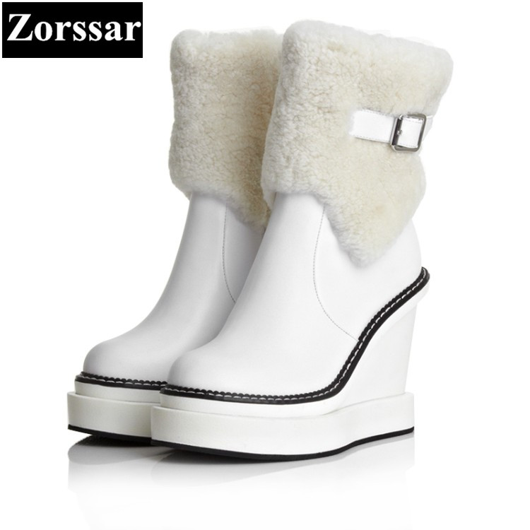 {Zorssar} 2017 NEW winter plush Women Boots Genuine Leather High heels platform wedges ankle snow Boots fashion womens shoes zorssar 2018 new fashion women shoes round toe thick heel ankle snow boots patent leather high heels womens boots winter