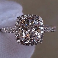 2017 Hot Sale Promotion!7*8M 2 carat Cushion cut silver jewelry NSCD Synthetic Gem ring engagement ring clear/yellow/pink ston