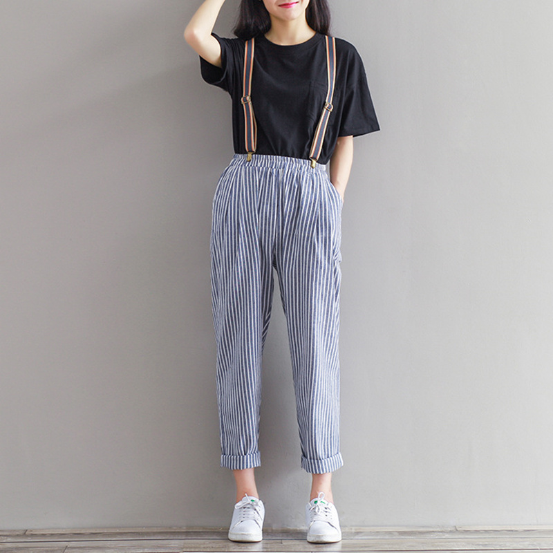 Women Cotton pants 2016 summer new literary retro striped loose wild radish casual trousers female casual lady pants S2714