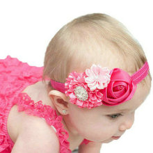 8PCS kids Baby Girl Rose Flower elastic headband Hair Ribbon Baby hair flower band children hair