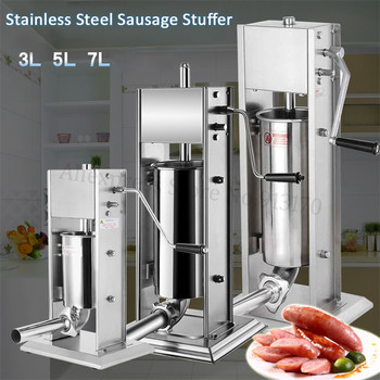 18 electric meat sausage stuffer stainless steel meat grinder vegetable potato fruit cutting machine commercial sausage filler 3L Manual Spanish Churros Maker Stainless Steel Vertical Sausage Stuffer Meat Sausage Filling Machine