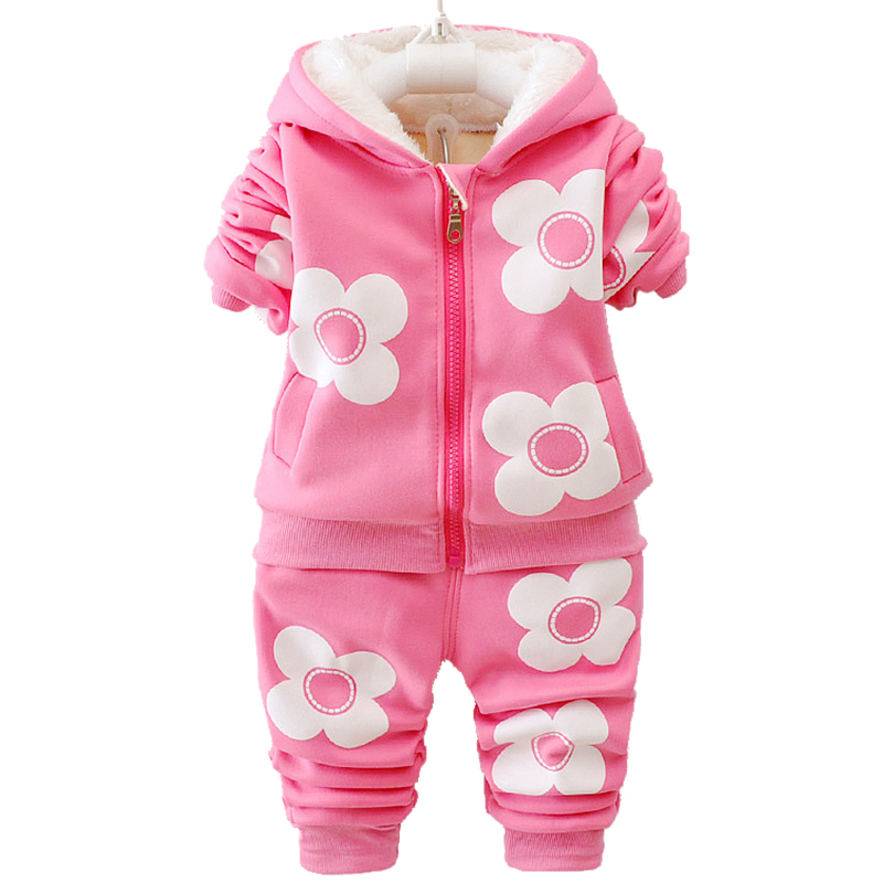 Girls Autumn Winter Flower Set Plus Hooded Jacket Toddler Girls Clothing Set Baby Tracksuit Children Casual Outfit Clothes Suit spring autumn vestidos tracksuit girls sports suit kids fashion hooded sportwear children track suit clothes set casual outfit