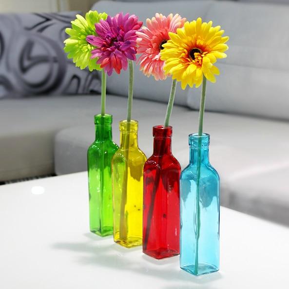 European 4 Color Glass Bottle Flower Vase Fashion Small Glass Vases for  Flower Arrangements Desktop Decoration. Aliexpress com   Buy European 4 Color Glass Bottle Flower Vase