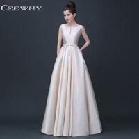 CEEWHY Formal Gown Satin Dress Long Evening Dress Floor Length Prom Party Dresses Evening Gown Vestido de Festa Robe Longue