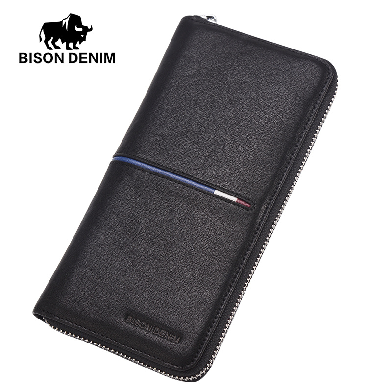 BISON DENIM Men Wallets Genuine Leather Long Purse For Men Business Purse Men's Coin Wallet Cards Holder Casual Clutch N8150