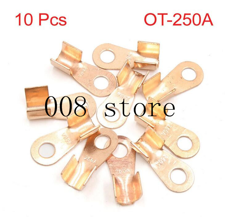 10pcs/lot 250A <font><b>Battery</b></font> Cable <font><b>Connector</b></font> Circular Splice Crimp <font><b>Ring</b></font> Terminal Cable Copper Lug OT-250A