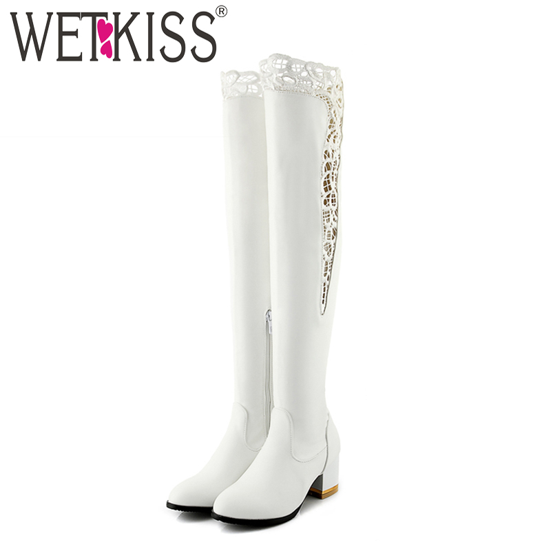 WETKISS Plus Size 33-46 Pu Women Over The Knee Boots Round Toe Footwear Lace High Heels Female Boot Zip Shoes Woman 2018 Winter memunia big size 34 43 over the knee boots for women fashion shoes woman party pu platform boots zip high heels boots female