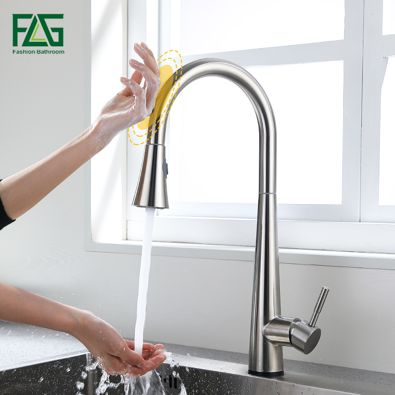 FLG Stainless Steel Touch Control Kitchen Faucets Smart Touch Inductive Faucet Dual Outlet Water Mode Pull Down Sink Mixer Tap