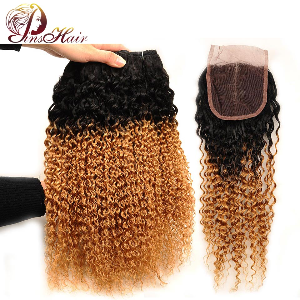 Pinshair Malaysian Kinky Curly Hair 3 Bundles With Closure Ombre Blonde 1B 27 Human Hair Bundles With Closure Nonremy Thick Hair