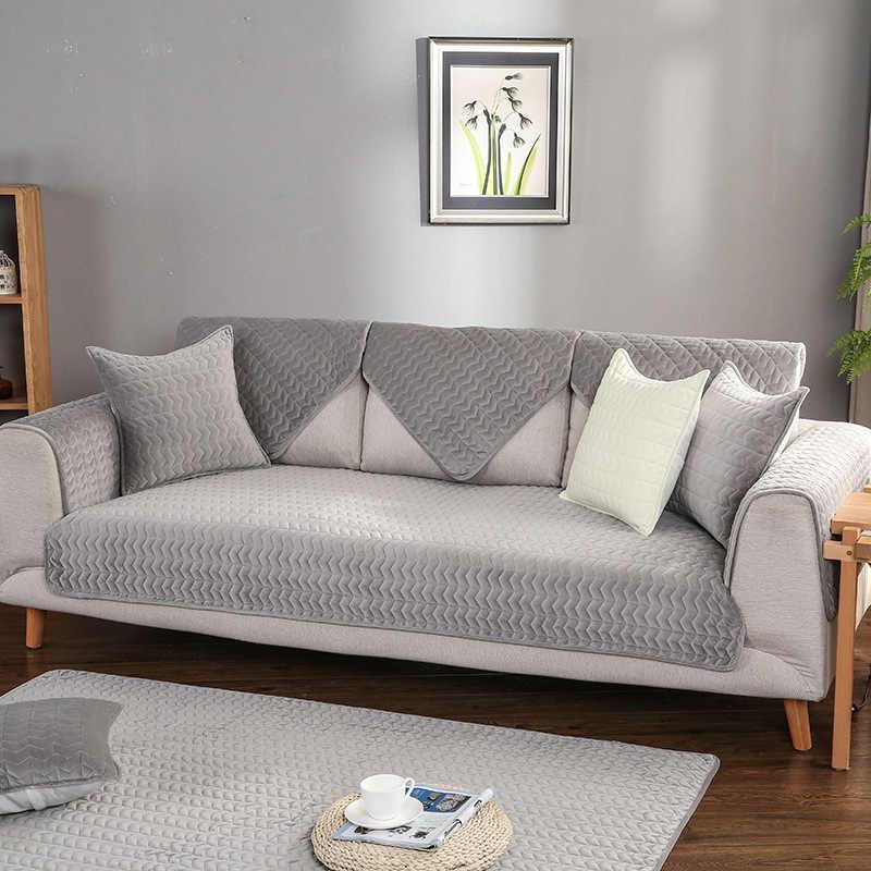 Чехлы для диванов гостиная серый цвет плюшевая подушка для дивана диване крышка современный минималистский угловой диван полотенца сиденья