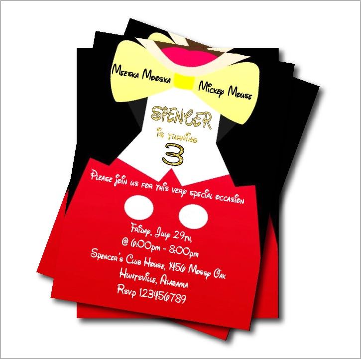 20 Pcs Custom Mickey Mouse Baby Shower Invitations Birthday Invites  Christening Graduation Anniversary Party Decoration Supplier