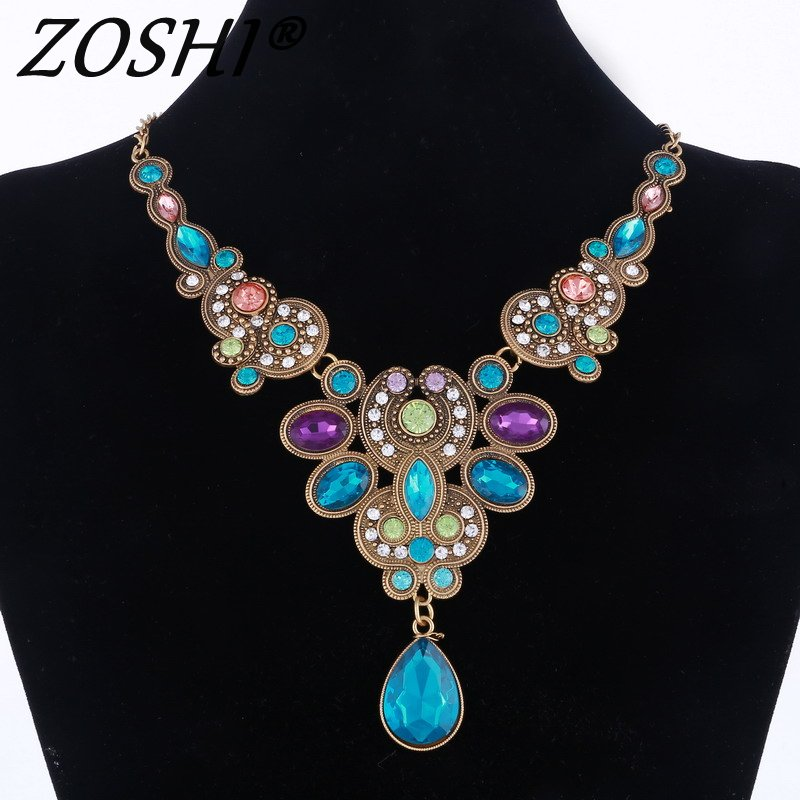 ZOSHI Women Fashion Crystal Jewelry Charm Choker Statement Bib Collar Necklace 2018 Colorful Gem Flower Pendants & Necklaces
