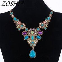 Déclaration Collier 2016 New Vintage Bijoux En Cristal Coloré Perles Collier Ras Du Cou Mode Bijoux Pendentifs Collier Pour Les Femmes