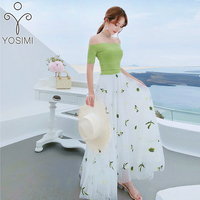YOSIMI 2018 Summer Two Piece Set Women Dress Green Vintage Off The Shoulder T shirt+Embroidery Mesh Skirt Women's Suit Female