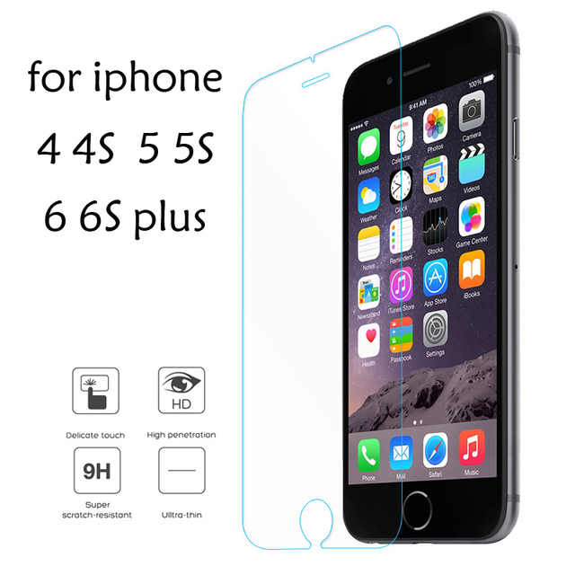 For iPhone 6 6s plus Tempered Glass For iPhone 5 5s Screen Protector Glass For iPhone SE 5c 4s 4 Protective Film Eye protection