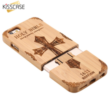 KISSCASE Wooden Case For iPhone 6 6S Plus 5S 5 SE 3D Wood Bamboo Wolf Cross Cover For Samsung Galaxy S6 S7 Edge Phone Cases Bags
