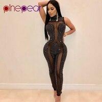 PinePear 2019 Diamond Transparent Sexy Mesh Jumpsuits Rompers Women Rhinestone Sleeveless Bodycon Birthday Bodysuit Wholesale