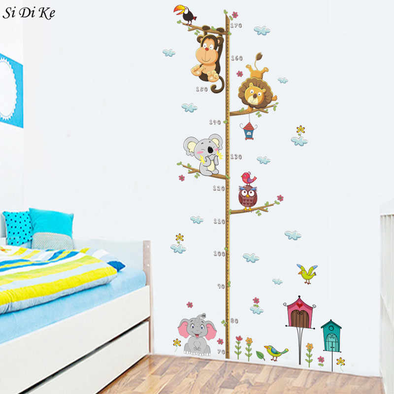 Si Di Ke Cute Cartoon Animals Measure Wall Stickers for Kids Room Living Room  Baby Room Nursery Decoration