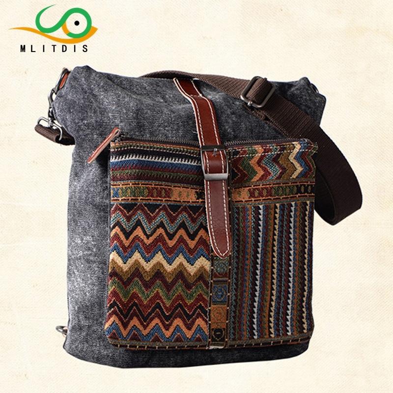 MLITDIS Vintage Ethnic Backpack Women Multi Compartment Backpack Canvas Backpacks For Girls Multi Pocket Backpacks Bag Female street style stylish buckle embellished multi way black canvas backpack for women